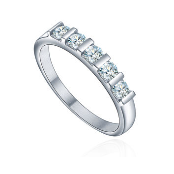 Stainless Steel Five Round Cubic Zirconia Engagement Ring