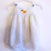 Baby Hand knitted dress, 0-3 months, white,Hand Knitted White Dress for Girl,white dress,Christmas dress,girl dress,girl white dress