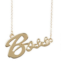 Boss Nameplate Necklace - Gold