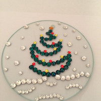 modern christmas tree in snow swarovski crystal designed on glass christmas round ornament
