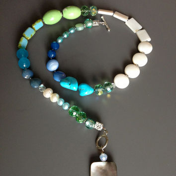 Blue Asymetrical Necklace - I Love my Blue Necklace