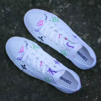Converse & LV  Fashion Canvas Flats Sneakers Sport Shoes White