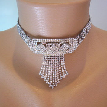 Crystal Choker, Great Gatsby Jewelry, Statement Necklace, Art Deco, Rhinestone Necklace, Bridal Jewelry, Gatsby Wedding,