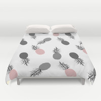 Falling Pineapple Duvet Cover by Cafelab