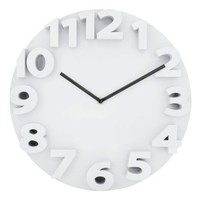 "3D Font Round Face Quartz 14"" Analog Wall Clock Ivory"