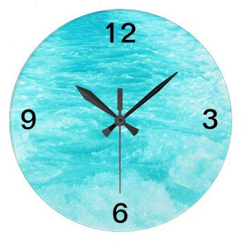 Turquoise Blue Sea Water with Splashes and Waves Wallclock