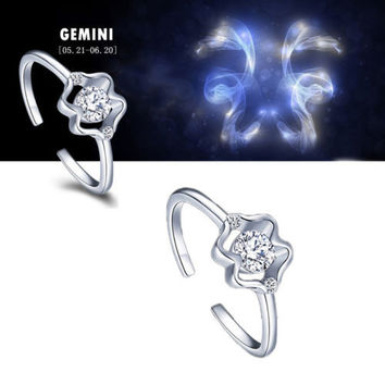 925 Sterling Silver 12 Constellations Zodiac Crystal Ring (Gemini)