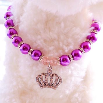 Puppy Dog Necklace For Pets Rhinestone Crown Heart Chihuahua Poodle Cat Pink Blue Purple Pearl Small Animals Jewelry Accessories