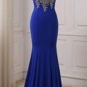Mermaid Evening Dresses Lady Long Formal Party Dress Gowns Sheer Neck Floor Length