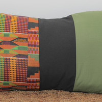 African print color block accent pillow cover