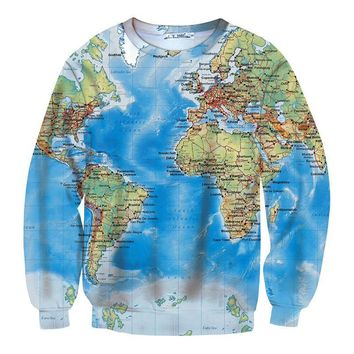 New World Map 3D Funny Sweatshit Retro Brand Clothing Women/Men Urban Casual Hipsters Long-sleeved Hip Hop Hoodies Pullover S-XL