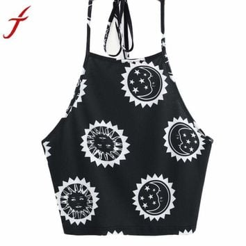 Womens T-Shirt Summer Sun Moon Printing Sleeveless Halter neck Tank Tops Crop Backless Vest cropped feminino