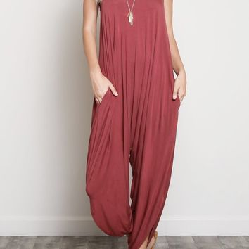 Drea Draped Modal Jumpsuit in Brick