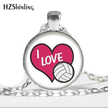 2017 New Volleyball Necklace I Love Volleyball Pendant Sports Jewelry Handcraft Accessory Glass Dome Cabochon Necklaces Gift