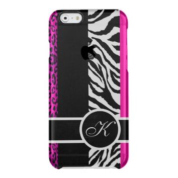 Hot Pink Leopard and Zebra Animal Print Monogram