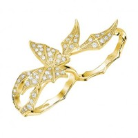 Stephen Webster Fly by Night Yellow Gold Two Finger Butterfly Diamond Ring