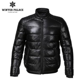 Young style leather jacket Mandarin Collar leather jacket men  Internal Cotton jacket mens genuine leather Warm jaqueta de couro