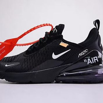 "Off white x Nike Air Max 270 ""Black"" Men Women Running Sneaker AH8050-011"