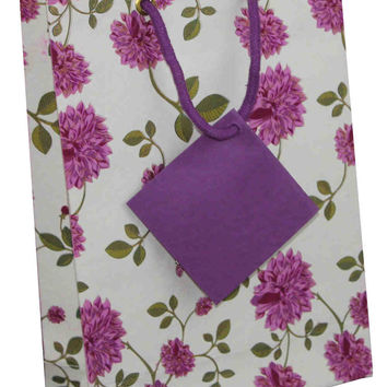 Handcrafted Recycled Paper Floral Gift Bags with Gift Tag Set of 6 Purple White
