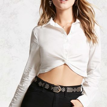 Twist-Hem Cropped Shirt