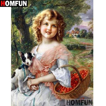 5D Diamond Painting Young Girl with a Puppy and Basket Kit