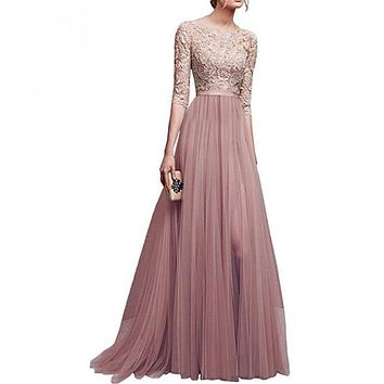 A Line Tulle Long Dress