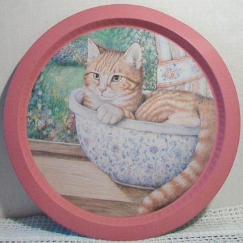 Vintage Pink Tabby Cat Tray Orange Striped Kitten Kitchen Tin Cat Lover Home Decor