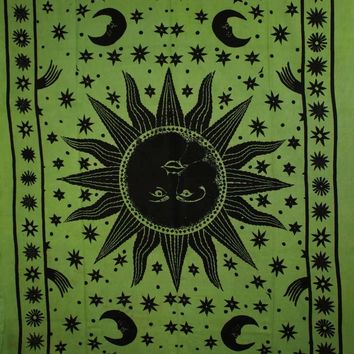 Green Sun, Moon, and Stars Handloom Style Tapestry