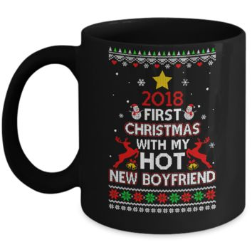 2018 First Christmas With My Hot New Boyfriend Ugly Sweater Mug