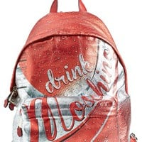 Women's Moschino 'Drink Moschino' Laminated Leather Backpack - Red