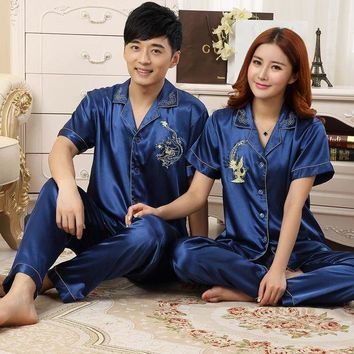 DCCKFV3 Upscale Couples Pajamas Sets Men Women Long Short Sleeve Sleepwear Long Pants Sleepwear Nightshirt Soft Faux Silk Satin Homewear