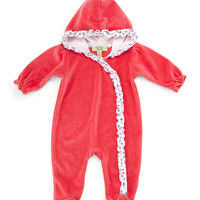 QT Cherry Blossom Hooded Pima Coverall, Fuchsia, Size 0-9 Months, Size: