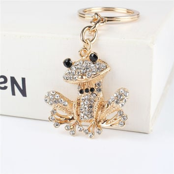 Lovely Frog Pendant Charm Rhinestone Crystal Purse Bag Keyring Key Chain Accessories Wedding Party Holder Keyfob Gift
