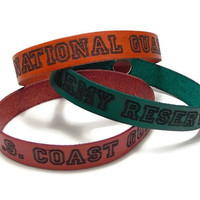 National Guard, Army Reserve, US Coast Guard, Engraved Leather Bracelet, Leather Military Bracelet, Military Gifts