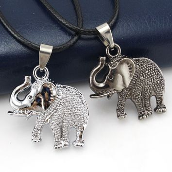 Elephant Pendant Necklace for Men Women Cute Small Love Dog Vintage Retro Black Silver Boho Chain Best Friends Trendy Jewelry