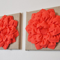 "Two Wall Canvases - Coral Dahlia Flowers on Burlap 12 x12"" Canvas Wall Art- Rustic Home Decor-"