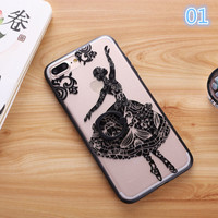 for iphone 7Case Fashion Sexy Lace Floral Paisley Carved Flower Mandala for iphone 7 Plus Cover Ring Hold Stand -0329