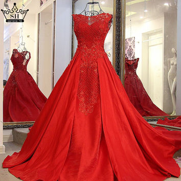 100% Real Picture Long Train Luxury Crystal Evening Dress Red Beading Satin Long Floor Length Ball Gown Bride Dress 2017
