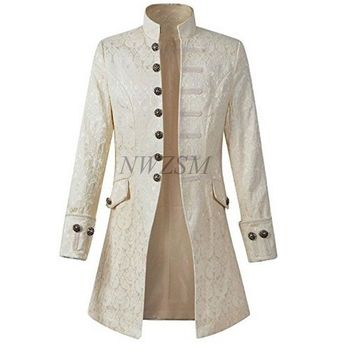 Adult Men Victoria Edwardian Steampunk Trench Coat  Frock Jacket Solid Vintage Velvet Goth Overcoat Halloween Cosplay Costume