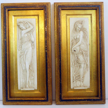 Vintage Wall Hangings Roman / Greek Women in Wood Frames - 2 Large 3D Wall Decor - Cottage Chic or Shabby Chic Hollywood Regency Decor