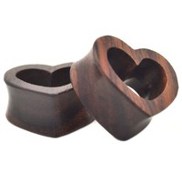 "Sono Wood Heart Shaped Tunnels Plugs (0g-1"")"