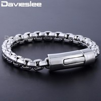Davieslee Bracelet For Men Wristband Bangle Big Box Link Chain 316L Stainless Steel Men's Jewelry 8mm DHB464