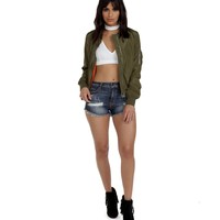 Olive She's Bomber Jacket
