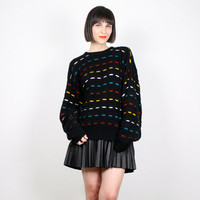Vintage 80s Sweater 1980s Jumper Pullover Striped Knit Primary Colors Black Cosby Sweater New Wave Textured Coogi Style Sweater L Large