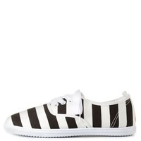 Black/White Striped Low-Top Canvas Sneakers by Charlotte Russe