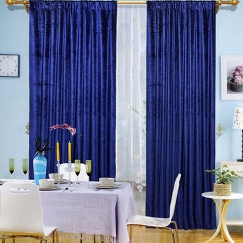 Blue Velvet Window Theater Curtain Drape 108""