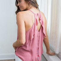 Ruffle Back Button Detail Cami - Canyon Rose