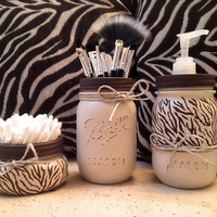 Mason Jar Gift Set, Mason Jar Decor, Mason Jar Soap Dispenser, Zebra Print, Animal Print