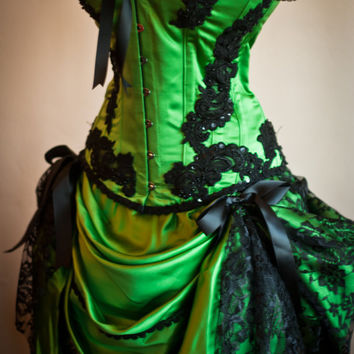 GREEN GYPSY - Steampunk Green Black Burlesque Corset Costume dress