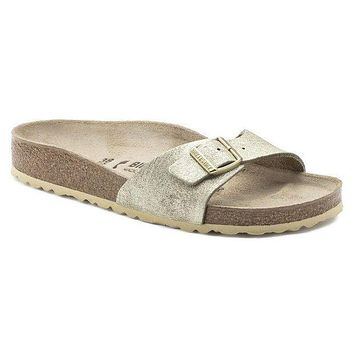 HINI1 Birkenstock Madrid Suede Leather Washed Metallic Cream Gold 1008696 Sandals